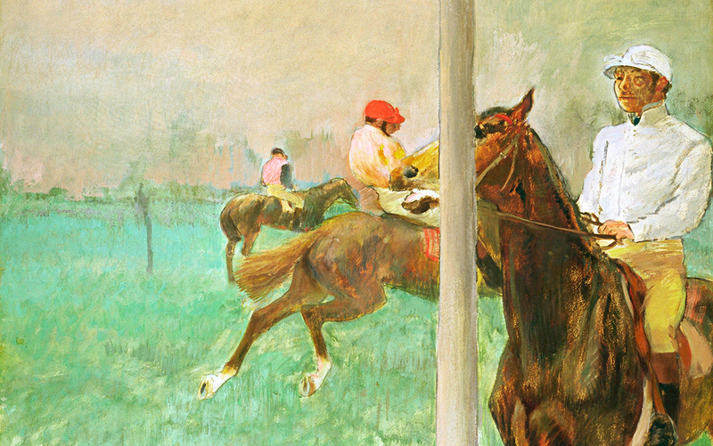 """Degas' """"Jockeys Before the Race"""" broke convention with its bisecting pole"""