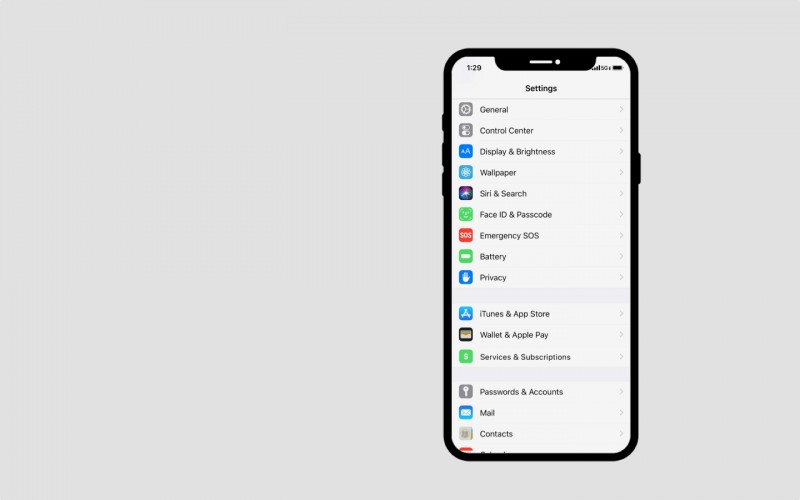 A redesign of Apple's setting app first screen